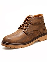 Men's Shoes PU Fall Winter Comfort Fashion Boots Light Soles Oxfords For Casual Blue Brown Black