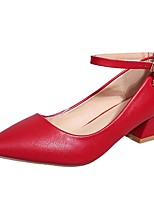 Women's Shoes PU Fall Winter Comfort Heels Block Heel Pointed Toe Buckle For Casual Dark Brown Red Beige Black
