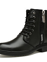 Women's Shoes Nappa Leather Fall Winter Bootie Combat Boots Boots Chunky Heel Booties/Ankle Boots For Casual Outdoor Black