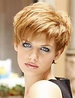 жен. Человеческие волосы без парики Черный Medium Auburn Бежевый Blonde // Bleach Blonde Короткий Прямые Боковая часть