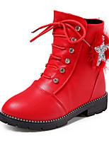 Fille Chaussures Similicuir Automne Hiver Confort boîtes de Combat Bottes Pour Décontracté Noir Rouge Rose Vin