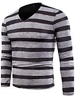 Standard Pullover Da uomo-Casual Taglie forti Semplice A strisce Rotonda Manica lunga Cotone Primavera Autunno Medio spessore
