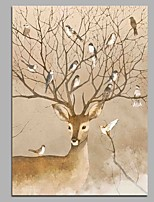 Deer and Birds 100% Hand Painted Contemporary Oil Paintings Modern Artwork Wall Art for Room Decoration