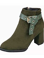 Women's Shoes Suede Fall Riding Boots Boots Chunky Heel Round Toe Zipper For Casual Green Brown Black