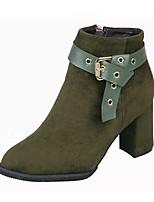 Mujer Zapatos Ante Otoño Botas de Equitación Botas Tacón Robusto Dedo redondo Cremallera Para Casual Negro Marrón Verde