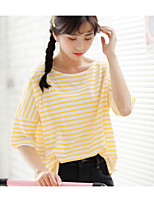 Women's Daily Cute Spring Summer T-shirt,Striped Round Neck Short Sleeves Cotton Thin