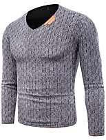 Men's Plus Size Casual/Daily Simple Regular Pullover,Solid Houndstooth V Neck Long Sleeves Cotton Spring Fall Medium Stretchy