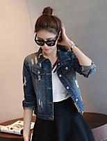 Women's Daily Simple Casual Winter Fall Denim Jacket,Solid Shirt Collar Regular Cotton