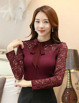 Women's Daily Spring Fall T-shirt,Solid Stand Long Sleeves Polyester Medium