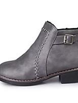 Mujer Zapatos PU Otoño Botas de Equitación Botas Tacón Bajo Dedo redondo Cremallera Para Casual Negro Gris Marrón