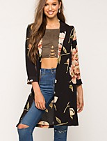 Women's Going out Casual/Daily Street chic Spring Fall Trench Coat,Print Peter Pan Collar ¾ Sleeve Long Rayon Polyester
