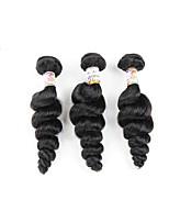 Недорогие -Натуральные волосы Бразильские волосы Пучок волос Свободные волны Наращивание волос 3 предмета Черный
