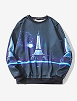 Men's Plus Size Daily Plus Size Casual Sweatshirt Print Round Neck Inelastic Polyester Long Sleeve Spring Fall