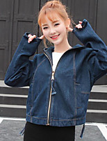 Women's Going out Street chic Fall Denim Jacket,Solid Hooded Long Sleeve Regular Others