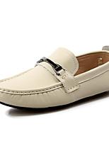 Hombre Zapatos Cuero Primavera Otoño Suelas con luz Zapatos de taco bajo y Slip-On Para Casual Blanco Negro Azul Marrón Claro