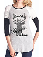 Women's Daily Holiday Street chic Fall T-shirt,Letter Round Neck 3/4 Length Sleeves Linen