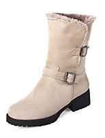 Femme Chaussures Cuir Nubuck Similicuir Automne Hiver Bottes à la Mode Bottes Gros Talon Bout rond Bottes Mi-mollet Boucle Pour