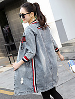 Women's Casual/Daily Simple Fall Winter Denim Jacket,Print Round Neck Long Sleeve Long Others