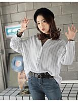 Women's Going out Casual Shirt,Striped Shirt Collar Long Sleeves Cotton
