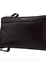 Men Bags All Seasons Cowhide Clutch Zipper for Event/Party Formal Black Brown