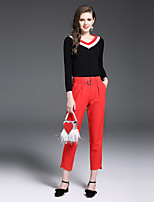 YIYEXINXIANG Women's Casual/Daily Work Simple Fall T-shirt Pant Suits,Solid V Neck Long Sleeve