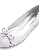 Femme Chaussures Satin Printemps Eté Confort Chaussures de mariage Bout rond Noeud Perle Imitation Perle Elastique Pour Mariage Habillé