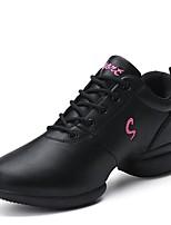 Women's Dance Sneakers Leatherette Sneaker Outdoor Low Heel Red Black 2