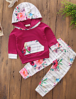 Girls' Stripe Solid Floral Sets,Cotton Polyester Spring Fall Long Pant Clothing Set