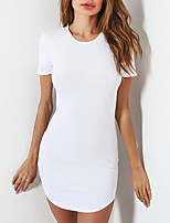 Women's Plus Size Casual/Daily Sheath Dress,Solid Round Neck Mini Short Sleeves Polyester Summer Fall Mid Rise Micro-elastic Medium