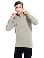 Standard Pullover Da uomo-Casual Tinta unita A cappuccio Manica lunga Cotone Autunno Inverno Medio spessore Media elasticità