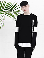 Men's Daily Sweatshirt Letter Round Neck Micro-elastic Cotton Polyester Long Sleeve Fall