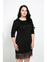 Cute Ann Women's Plus Size Casual/Daily Sexy Vintage Street chic Sheath Dress,Solid Round Neck Knee-length Half Sleeves Cotton Polyester All