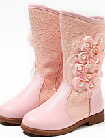 Girls' Shoes Real Leather Fall Winter Snow Boots Fashion Boots Boots For Casual Blushing Pink White