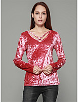 Women's Daily Going out Casual Winter T-shirt,Solid V Neck Long Sleeves Polyester Medium