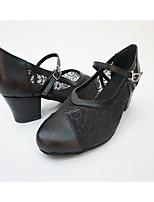 Women's Salsa Net Leatherette Full Sole Practice Splicing Block Heel Gold Black Silver Gray
