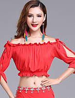 Belly Dance Tops Women's Performance Modal Pleated 3/4 Length Sleeve Tops
