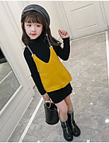 Girls' Solid Clothing Set,Others Winter Fall Long Sleeve Yellow