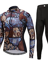Cycling Jersey with Tights Unisex Long Sleeves Bike Clothing Suits Fast Dry Geometric Winter Cycling/Bike Coffee