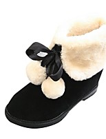 Women's Shoes Suede Fall Snow Boots Boots Flat Heel Round Toe Pom-pom For Casual Red Brown Black
