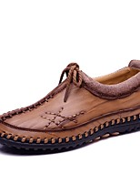 Men's Shoes Cowhide Leatherette Spring Fall Comfort Loafers & Slip-Ons Split Joint For Casual Khaki Dark Brown Black
