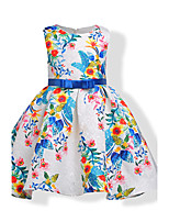 Girl's Birthday Going out Floral Dress,Cotton Polyester Summer Fall Sleeveless
