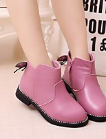 Girls' Shoes Synthetic Microfiber PU Fall Winter Comfort Boots For Casual Blushing Pink Red Purple Black