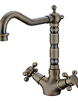 Antique Centerset High Quality Brass Valve Two Handles One Hole Antique Brass , Bathroom Sink Faucet
