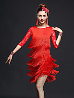 Shall We Latin Dance Outfits Women's Performance Spandex Tassel(s) Half Sleeve Dropped Skirts Tops Shorts