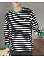 Men's Daily Sweatshirt Striped Crew Neck Micro-elastic Cotton Long Sleeve Winter Fall