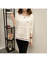 Mujer Simple Bonito Sofisticado Casual/Diario Trabajo Otoño Invierno Camiseta,Escote Redondo Un Color Manga Larga Algodón Poliéster Medio