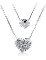 Women's Pendant Necklaces Opal Rhinestone Heart Crystal Alloy Luxury Elegant Jewelry For Wedding Daily