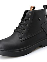 Mujer Zapatos PU Otoño Confort Botas de Moda Botas Tacón Bajo Dedo redondo Mitad de Gemelo Con Cordón Para Casual Negro Marrón Caqui