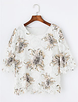 Women's Daily Fall T-shirt,Floral Round Neck Half Sleeves Cotton Thin