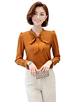 Women's Work Plus Size Street chic Spring Fall Shirt,Solid V Neck Long Sleeves Polyester Medium